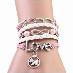 Dog Charm Leather Bracelets Bangles Infinity Love Braided Wrap Bracelet Jewelry