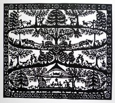 Fold for symmetry, then unfold to add specific non-symmetrical scene details Kirigami, Cardboard Sculpture, Paper Birds, Paper Animals, Paper Lace, Papercutting, Art For Art Sake, Cross Stitch Designs, Doodle Art