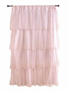 Pink Tulle Curtain Panel - I think white would look better if walls are pink Pink Ruffle Curtains, Cute Curtains, Curtains With Blinds, Sheer Curtains, Window Curtains, Target Curtains, Nursery Curtains, Ruffles, Window Panels