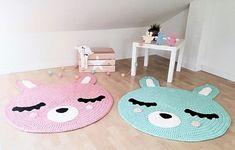 Crochet carpets made of knitted ribbon yarn. Carpets in the form of fac Crochet Mat, Crochet Carpet, Crochet Rug Patterns, Crochet Bunny, Crochet Panda, Bear Nursery, Nursery Rugs, Nursery Patterns, Ribbon Yarn