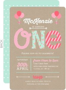 1st Birthday Photo Invitation First Birthday Invitation for Girls
