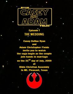 Star Wars - Wedding Invitations... i would totally be the uber-dork that did this.