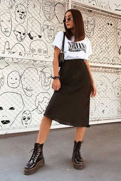 Edgy Outfits, Teen Fashion Outfits, Cute Casual Outfits, Skirt Outfits, Modest Fashion, Look Fashion, Summer Outfits, Look Casual, Teenager Outfits