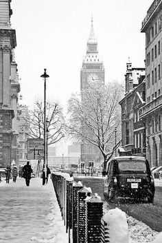 London in Snow, Black and White. Can it get any better?