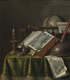 Edwaert Collier BREDA 1642 - 1708 LONDON(?) VANITAS STILL LIFE WITH A CANDLESTICK, BOOKS, MUSICAL INSTRUMENTS, AN ASTROLOGICAL GLOBE, A POCKET WATCH, AND AN HOURGLASS ALL ON A DRAPED TABLE oil on panel, 29 by 25.1 cm