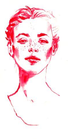Eloïse Heinzer - Visage aquarelle rose