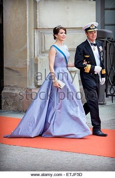 Crown Prince Frederik and Crown Princess Mary of Denmark arrive at the Royal Palace for the wedding of Prince Carl Philip and Sofia Hellqvist at the Palace Chapel in Stockholm, Sweden, 13 June 2015. Photo: Patrick van Katwijk / NETHERLANDS OUT POINT DE VUE OUT - NO WIRE SERVICE - © dpa picture alliance/Alamy Live News - Stock Image