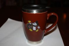 Disney Mickey's Coffee Brand Theme Parks Insulated Mug Lid Chrome Stainless Nice