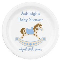 Blue Rocking Horse Baby Shower 9 Inch Paper Plate
