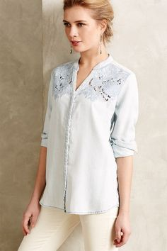 Laced Chambray Buttondown - anthropologie.com #anthrofave