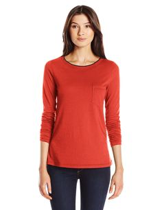 Three Dots Women's Long Sleeve Pocket Tipped Tee, Wonder Red, Medium