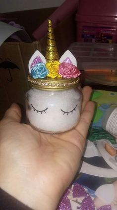 Make this cute unicorn jar out of an upcycled baby food jar. Then add glittery slime. Fun for the kids and great gift ideas.