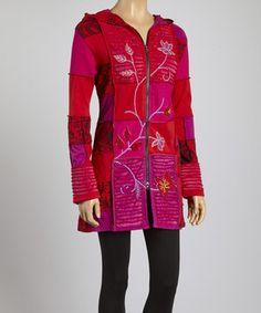 Look at this #zulilyfind! Red & Pink Patchwork Zip-Up Hoodie by Royal Handicrafts #zulilyfinds