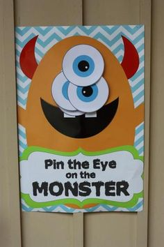 Pin the Eye on the Monster game - DIGITAL files only - Monster party - Party Game Little Monster Birthday, Monster 1st Birthdays, Monster Birthday Parties, First Birthday Parties, Birthday Party Themes, Birthday Ideas, 3rd Birthday, Halloween Party Games, Halloween Birthday