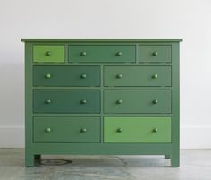 Varied shades in a satin finish make this dresser a standout piece. Shown: Fine Paints of Europe