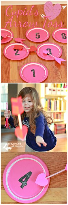 This fun Valentine's Day game for toddler and preschoolers is quick and easy to make using simple, affordable materials.  It works on gross motor skills, like throwing, fine motor skills, like pencil grip, as well as number recognition and basic addition