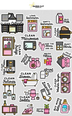 CLEANING PLANNER STICKERS - Spring Cleaning Stickers - Cleaning List Stickers - Spring Stickers - Decluttering Stickers - Declutter Stickers by PAPERCUTdesignco on Etsy (Diy Art Organizer)