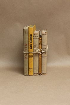 Vintage Collection of Books- Yellow and Taupe Home Decor- Decorative Books. $22.00, via Etsy.
