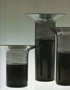 "TAPIO WIRKKALA – Art glass vases ""Filigrana di Tapio"", incalmo, for Venini, Murano, Italy. – A Finnish designer. Source by uwehuxholl Glass Ceramic, Glass Vase, Bauhaus, Glass Art Design, Vintage Vases, Venetian Glass, White Vases, Vintage Design, Ceramic Artists"