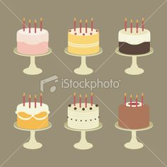 Cute Birthday Cakes with Candles on Cake Stands Royalty Free Stock Vector Art Illustration