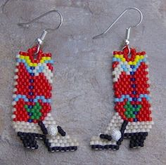 Linda's Beautiful Handmade Beaded Jewelry by wolflady Brick Stitch Earrings, Seed Bead Earrings, Seed Beads, Beaded Earrings, Beaded Necklaces, Pony Bead Patterns, Beading Patterns, Beading Ideas, Beaded Banners