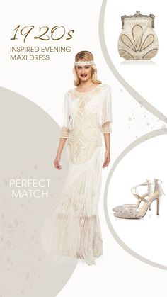 A waterfall of shimmering pearls and sequins gives this 1920s Inspired Evening Maxi Dress in Cream the perfect shimmy to leave 'em shakin' all night long! The sheer half-sleeves and tiered fringe create a sultry illusion, while the cream slip provides cool comfort. The glamorous beaded design is inspired by art deco and adds the perfect vintage touch...