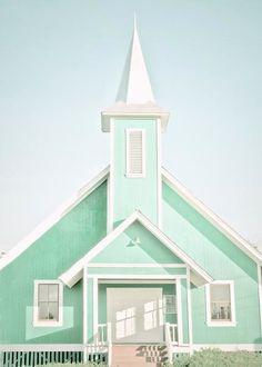 Mint green church