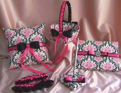 Madison Damask Wedding Ring Pillow, Flower Girl Basket, Guest Book, Bridal Garters - Hot Pink Black Damask Weddings