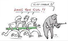 Le dessin qui fait sourire de l'horreur. L'esprit Charlie, on peut rire du plus grave #JeSuisCharlie (poke @remi_caz)