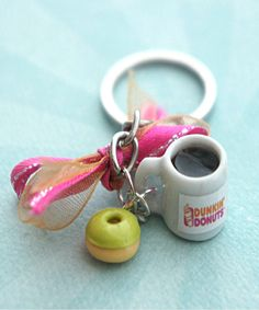 dunkin donuts coffee keychain turn into mini ornament :)