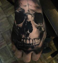Realistic Skull Hand Tattoo