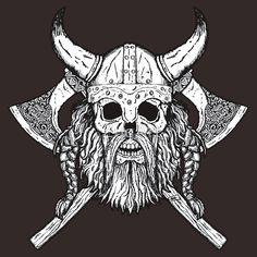 Risultati immagini per viking skull Viking Art, Viking Symbols, Viking Warrior, Skull Tattoos, Body Art Tattoos, Sleeve Tattoos, Tattoo Ink, Tattoo Homme, Norse Tattoo