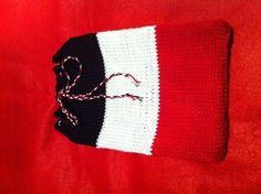 Hand-knit, felt backed iPad mini case