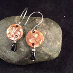 Fleur de Lis & Black Tourmaline Earrings from Wired & Sassy, LLC - Artisan Jewelry  FREE SHIPPING LABOR DAY WEEKEND!!!! for $27.00 on Square Market