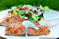 Greek Marinated Salmon with Tzatziki Sauce from Picture the Recipe