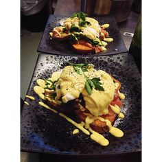 Come in and try our version of eggs benny its dairy free, gluten free and paleo  crispy sweet potato replaces bread and our hollandaise is a secret recipe of cashews, lemon juice and spices. You can choose your toppings between zucchini, salmon or crispy bacon.