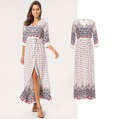 Boho V-Neck Maxi Dress - Multicoloured - for order now on Lesara! Floral Fashion, Floral Style, Floral Prints, V Neck, Unique, Dresses, Fashion Styles, Curve Dresses, Vestidos