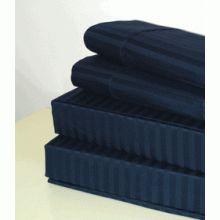 T600 Queen Size Stripe Egyptian Cotton Sheet Set - Navy