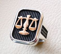 scale of justice heavy rectangular men ring by AbuMariamJewels