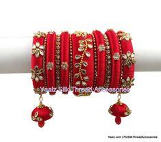 silk thread jewelry Bangle Earring Jumka-Yaalz Heavy Kundan Stone Elegant Bridal Bangles Set In Red Color-YAALZ Silk Thread Bangles Design, Silk Thread Necklace, Silk Bangles, Beaded Necklace Patterns, Bridal Bangles, Thread Jewellery, Jewelry Patterns, Bridal Jewelry, Women's Jewelry