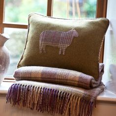 100% wool green & check sheep cushion