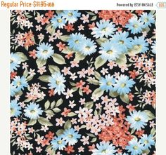 YEAR END SALE Bristol-Mixed Small Flowers-Black~Cotton Fabric, Fabri-Quilt Fast Shipping F654