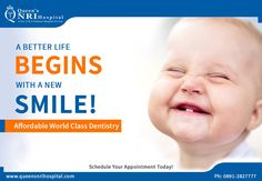A Better #Life Begins With A New #SMILE!  Affordable World Class #Dentistry.  For more health updates follow us on: https://www.facebook.com/QueensNRIHospital/  Get appointments by dialing: 0891-2827777 || visit: www.queensnrihospital.com