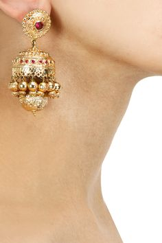 Gold plated embossed jhumki earrings available only at Pernia's Pop-Up Shop.