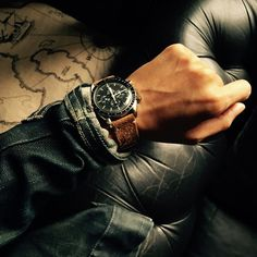 """Omega Speedmaster 3592.50 paired with our handsome Bas and Lokes """"Noel"""" handmade suede watch strap. Available at www.BasAndLokes.com"""