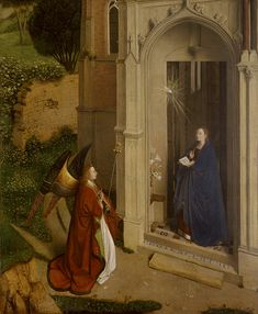 Petrus Christus, active (formerly attributed to Jan Van Eyck) The Annunciation (ca Oil on wood. Metropolitan Museum of Art, New York. Jan Van Eyck, Renaissance Kunst, Renaissance Paintings, Immaculée Conception, Archangel Gabriel, Archangel Michael, Oil Painting Reproductions, Medieval Art, Sacred Art