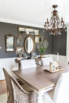 A couple of tricks for hanging the perfect mirror gallery wall plus ideas for a traditional meets modern eclectic dining room. A couple of tricks for hanging the perfect mirror gallery wall plus ideas for a traditional meets modern eclectic dining room. Dining Room Mirror Wall, Dining Room Walls, Living Room, Wall Of Mirrors, Dark Grey Dining Room, Entryway Mirror, Table Design, Dining Room Design, Dinning Room Paint Ideas