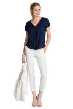 Esprit - Satinierte 7/8 Anzughose mit Stretch im Online Shop kaufen