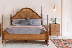 The Botticelli super king size bed is a grand statement four poster bed. Hand carved from mindy ash wood it features a walnut inlay headboard. Super King Bed Frame, Super King Size Bed, King Size Bed Frame, Wooden King Size Bed, Bed Frame Sizes, Superking Bed, Bed Room, Hanging Beds, Bedding Master Bedroom