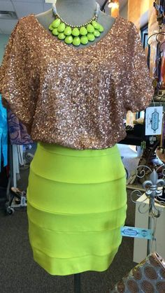 Neon Green Golden Dress